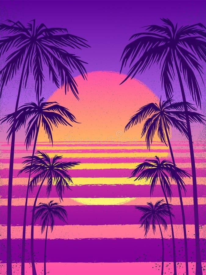 Solnedgång med palmträd, moderiktig purpurfärgad bakgrund Vektorillustration, designbeståndsdel för lyckönskankort, tryck vektor illustrationer