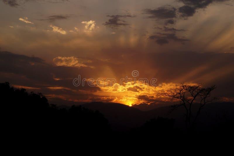 Solnedgång med strålar royaltyfria bilder