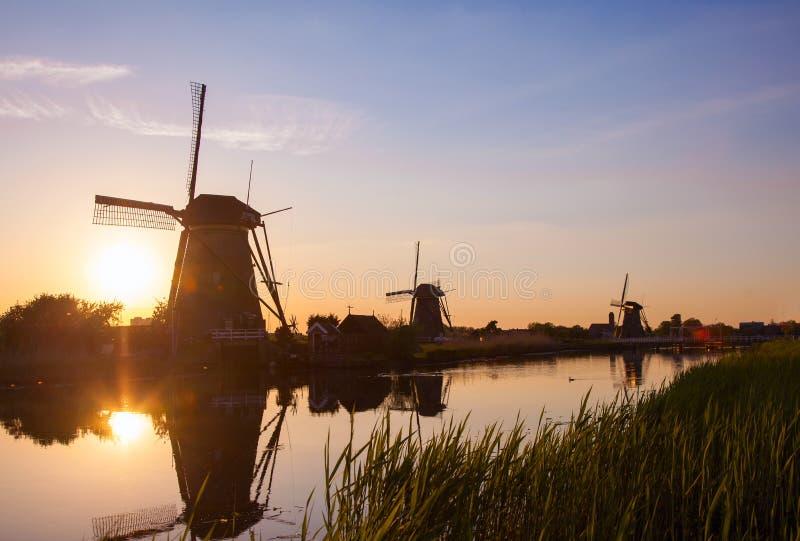Solnedgång med traditionella holländska väderkvarnar i Kinderdijk royaltyfri bild
