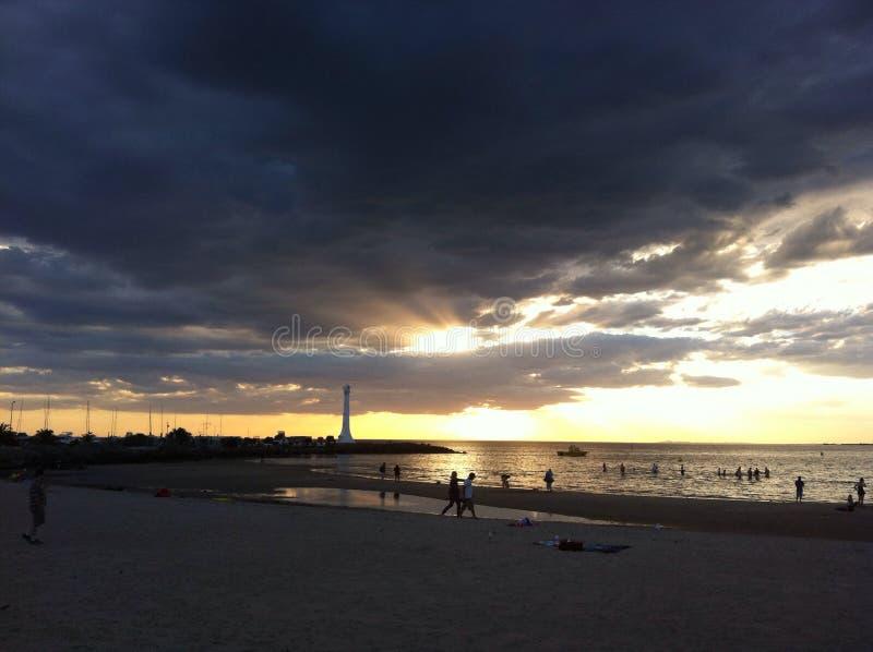 Solnedgång Melbourne fotografering för bildbyråer