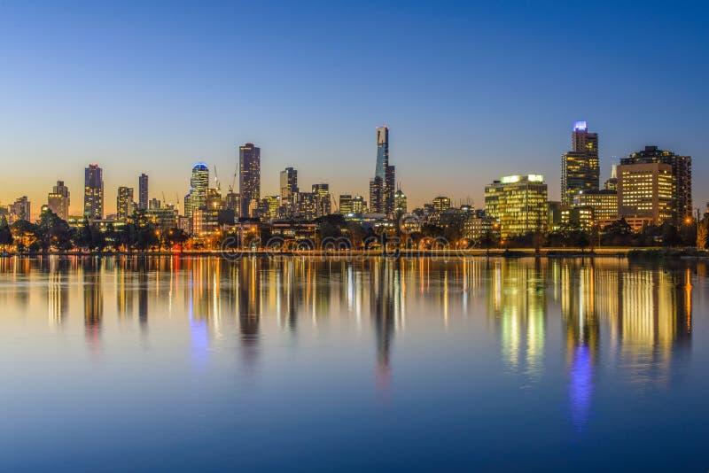 Solnedgång Melbourne arkivbild