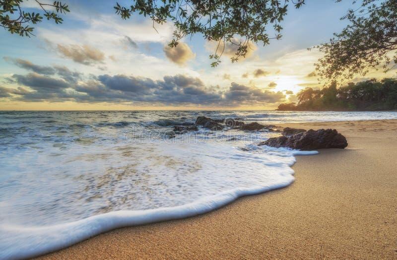 Solnedgång- och strandhav stranden royaltyfri fotografi