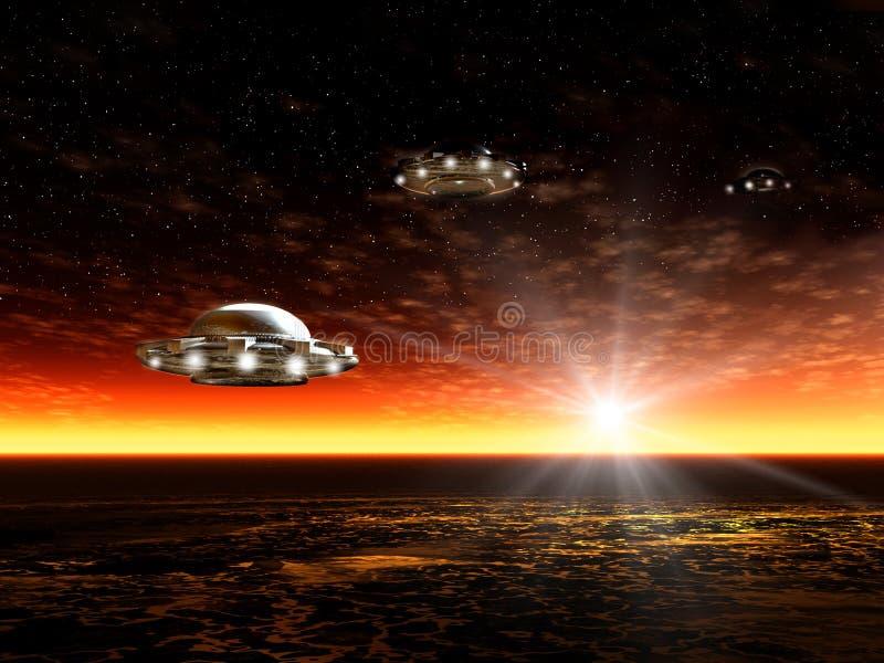 Solnedgång och UFO vektor illustrationer