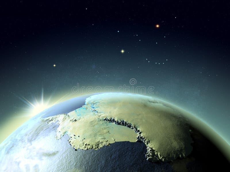Solnedgång ovanför Antarktis från utrymme royaltyfri illustrationer
