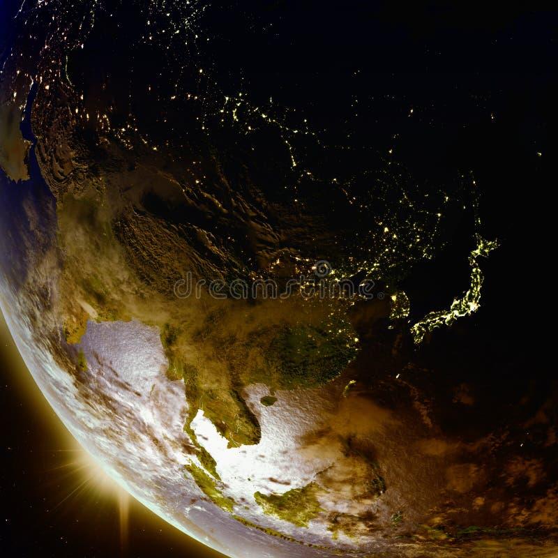 Solnedgång ovanför East Asia från utrymme royaltyfri illustrationer