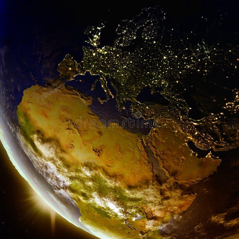 Solnedgång ovanför EMEA-region från utrymme royaltyfri illustrationer