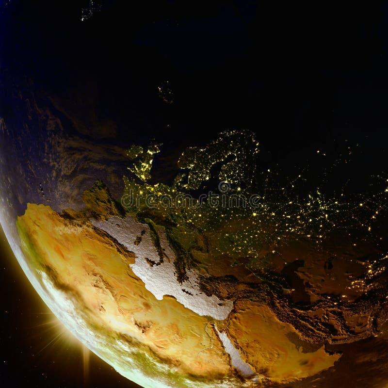 Solnedgång ovanför Europa från utrymme stock illustrationer