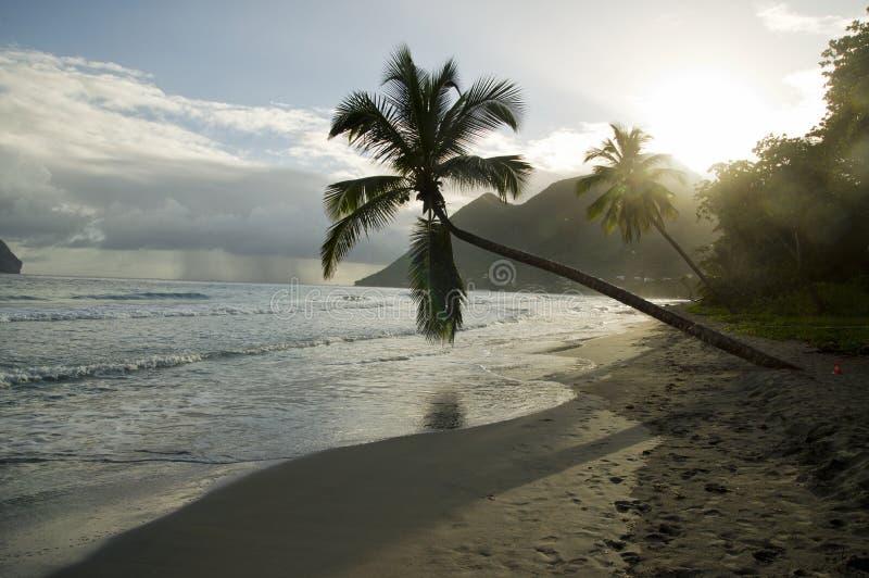 Solnedgång ovanför Ladiamantstranden, Martinique arkivbilder