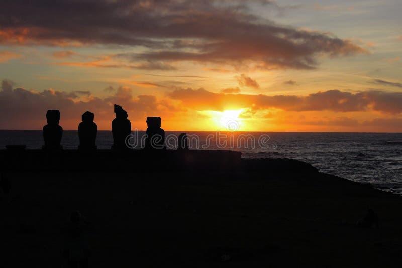 Solnedgång på Ahu Tahai royaltyfri foto
