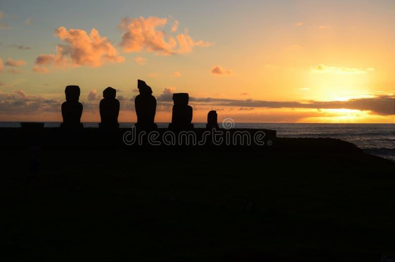 Solnedgång på Ahu Tahai royaltyfri bild