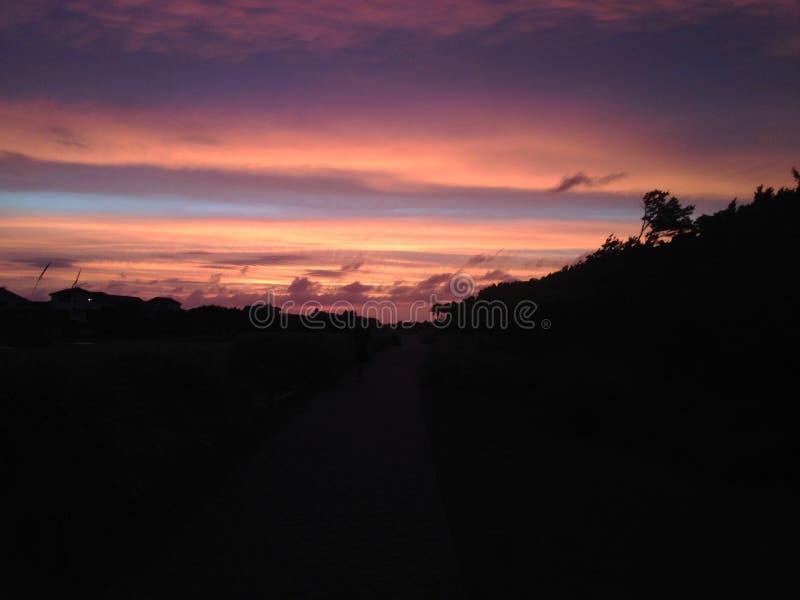 Solnedgång på Baldheadön royaltyfri fotografi