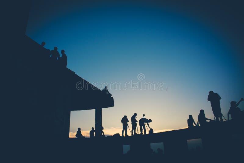 Solnedgång på Bangkok arkivfoton