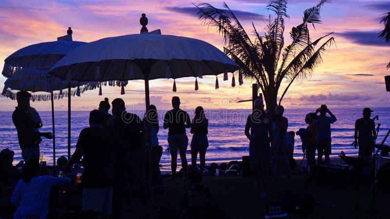Solnedgång på cangguen royaltyfri foto