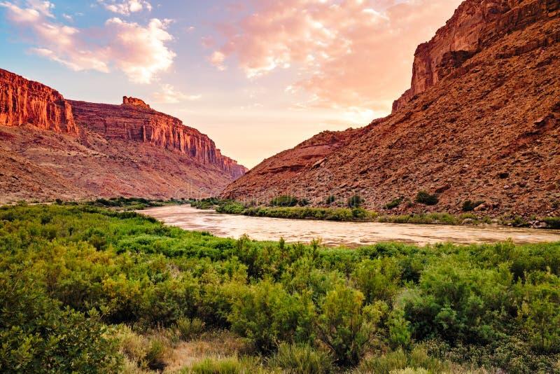 Solnedgång på Coloradofloden royaltyfri fotografi