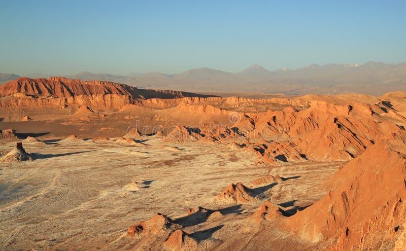Solnedgång på dalen av månen, San Pedro de Atacama, Chile arkivbild
