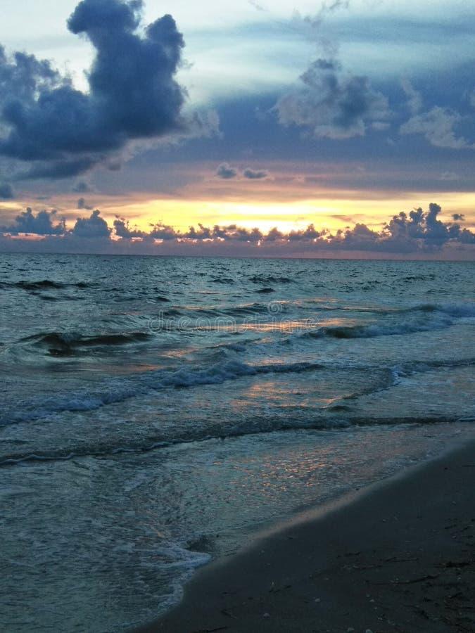 Solnedgång på den blinda passerandestranden, Florida fotografering för bildbyråer