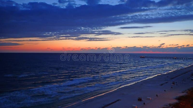 Solnedgång på den Panama City stranden Florida royaltyfria bilder