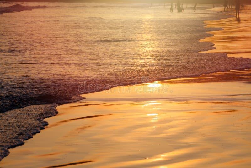 Solnedgång på den tropiska stranden i Sri Lanka - guld- färg vinkar havsvatten, kontur av folk på bakgrund royaltyfria foton