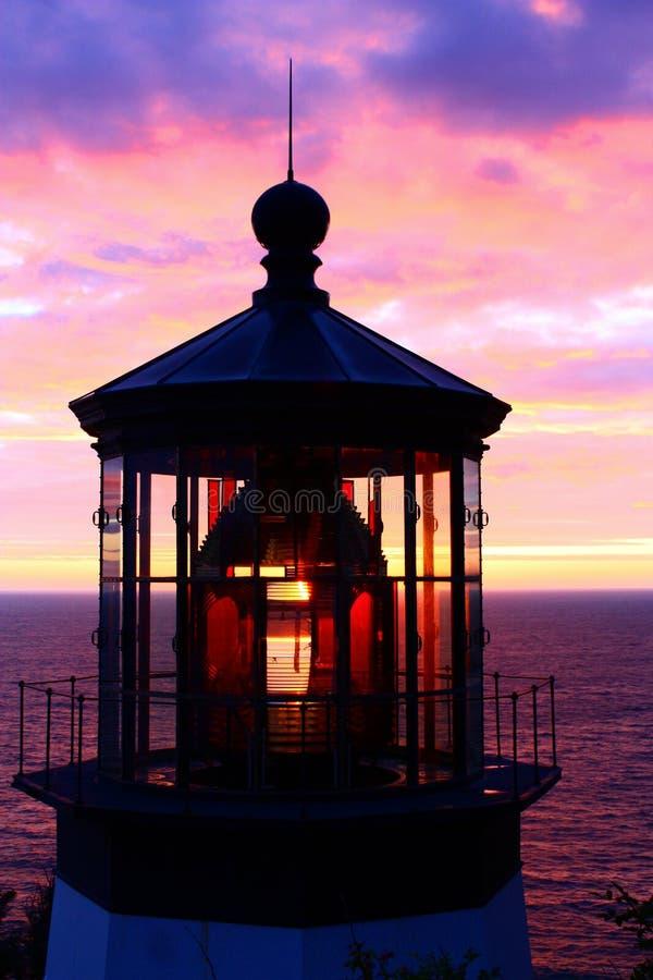 Solnedgång på den uddeMears fyren på den Oregon kusten royaltyfria foton