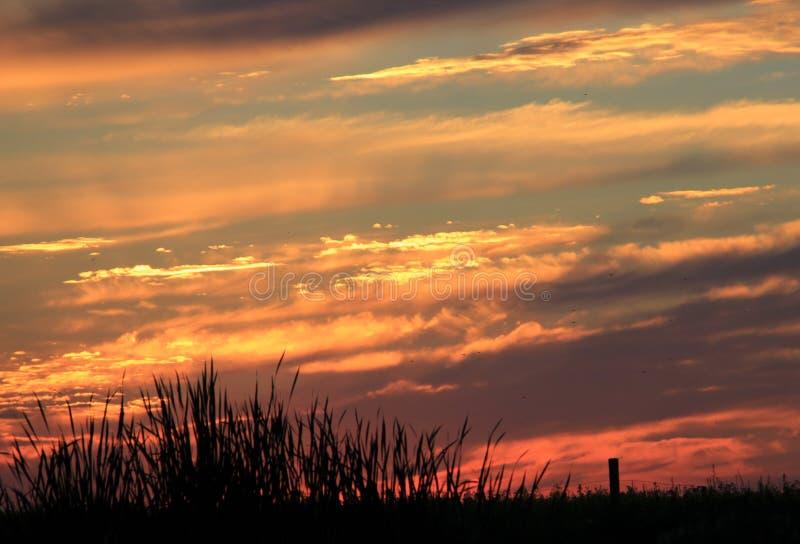 Solnedgång på den vita gyttjafloden, Manitoba arkivbilder