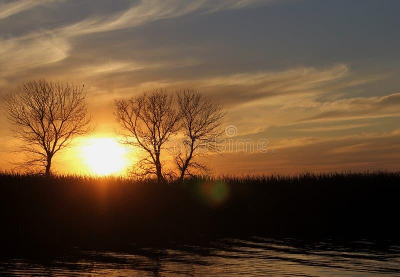 Solnedgång på den vita gyttjafloden, Manitoba royaltyfri fotografi