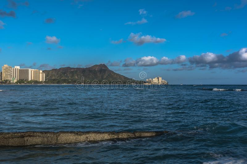 Solnedgång på Diamond Head, Oahu, Hawaii arkivbilder
