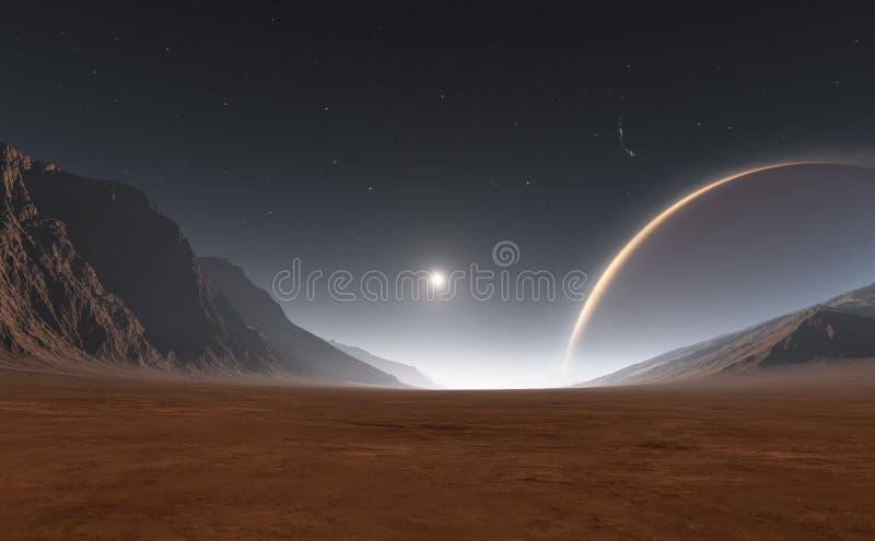 Solnedgång på Exoplanet, Extrasolar planet stock illustrationer