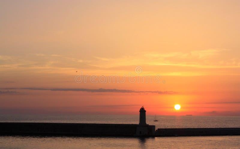Solnedgång på fartyget fotografering för bildbyråer