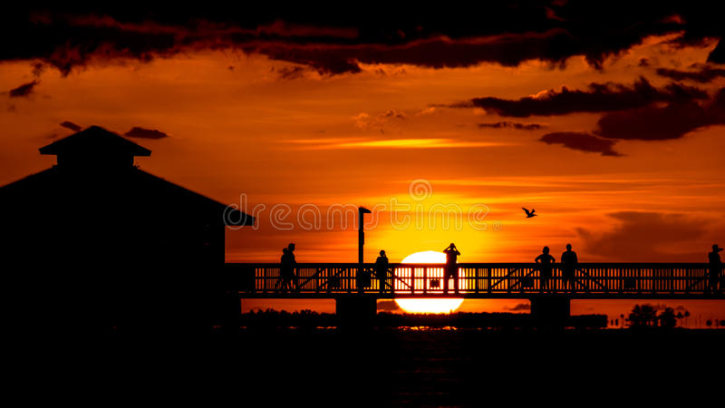 Solnedgång på fortet Myers Beach royaltyfri foto