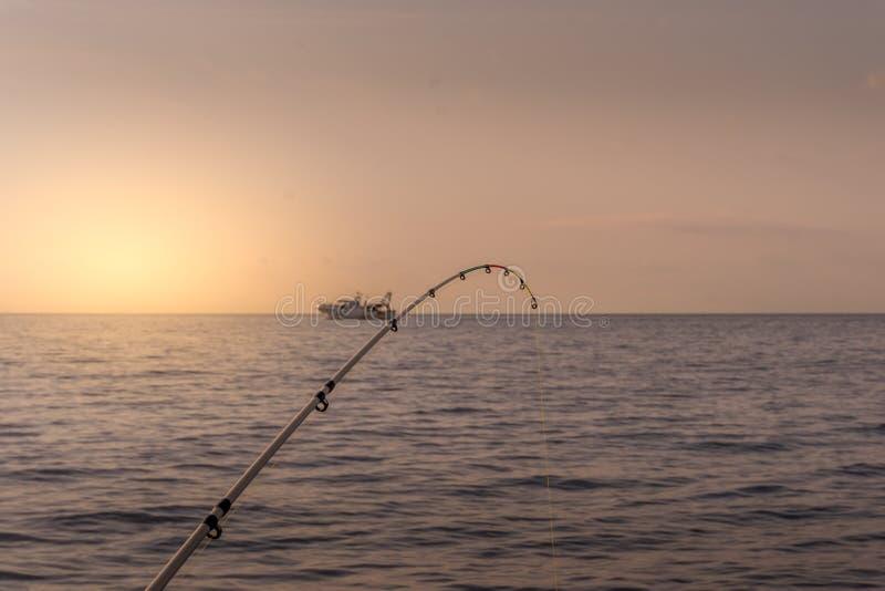 Solnedgång på havet med en metspö i närbild och ett fiska b arkivfoton