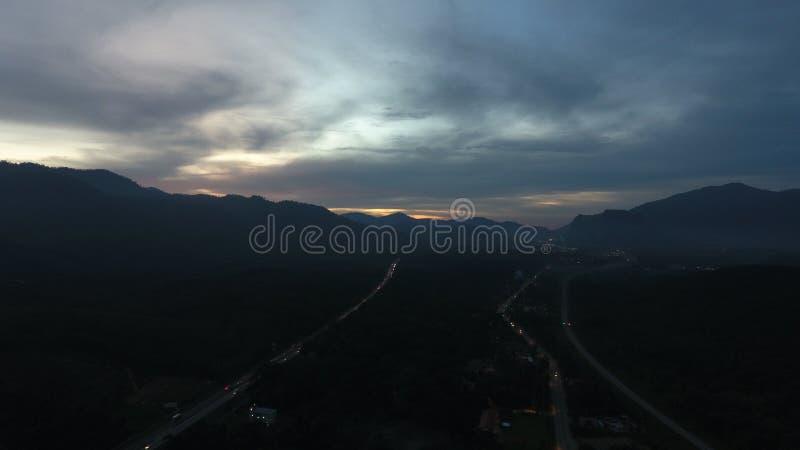 Solnedgång på Kuala Kangsar royaltyfri foto