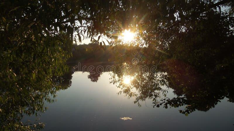 Solnedgång på laken royaltyfri foto