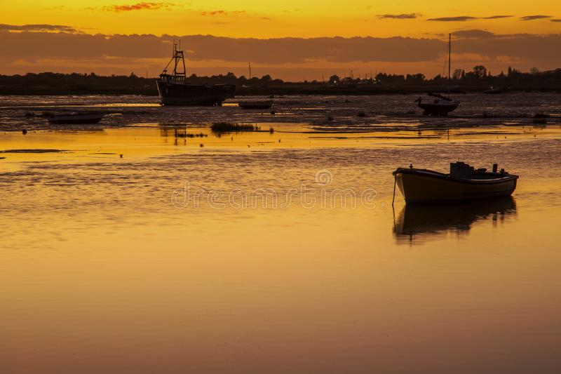 Solnedgång på Leigh On Sea, Essex, England royaltyfri fotografi