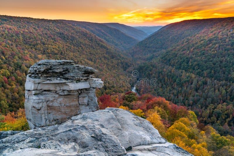 Solnedgång på Lindy Point, West Virginia royaltyfri foto