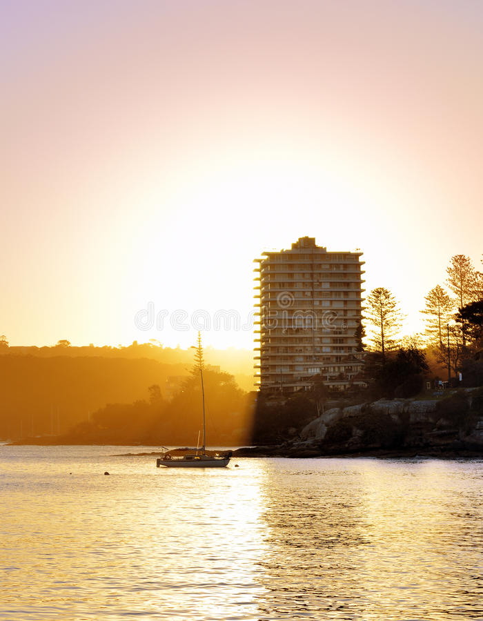 Solnedgång på manligt, NSW Australien arkivbild