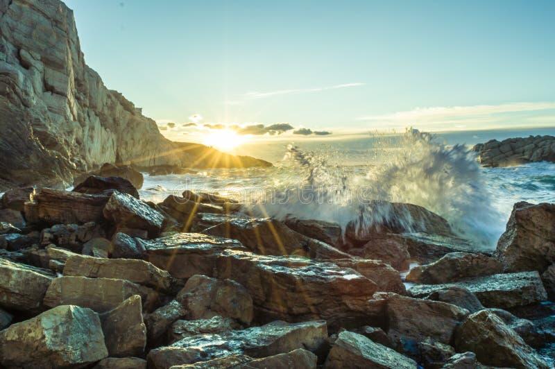 Solnedgång på Marseille i söder av Frankrike royaltyfri fotografi