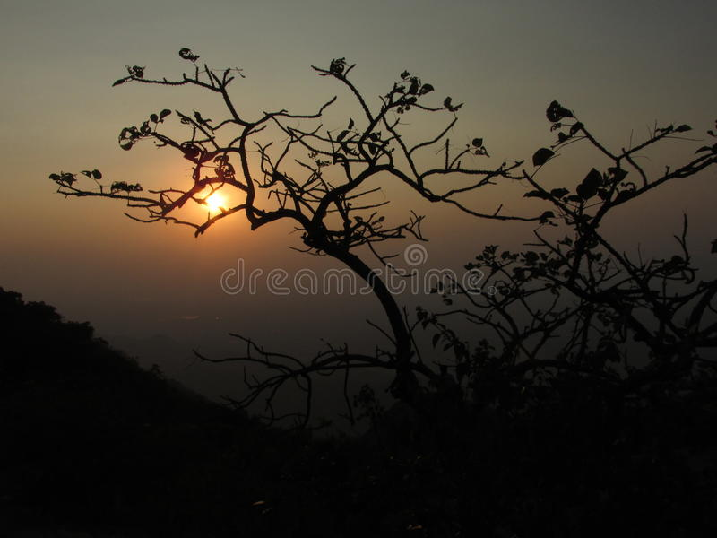 Solnedgång på monteringen Abu royaltyfri foto
