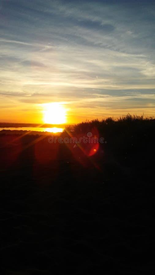 Solnedgång på Moses Lake royaltyfri foto