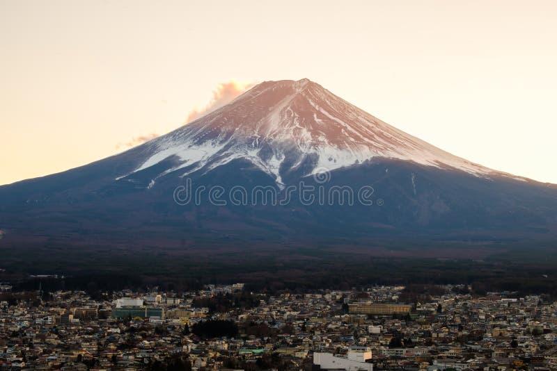 Solnedgång på Mount Fuji san, Japan arkivfoto
