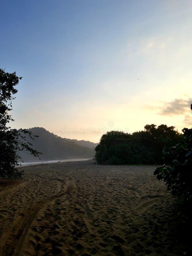 Solnedgång på ofruktbara marken av stranden royaltyfri fotografi