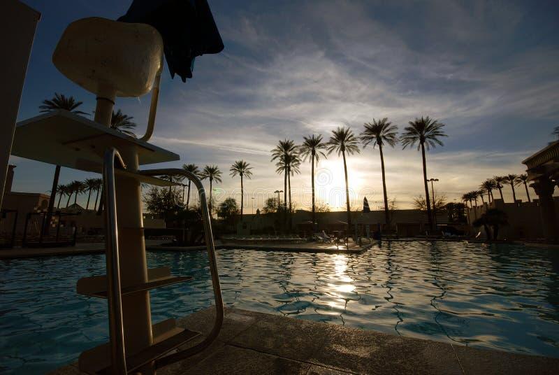 Solnedgång på pölen i Las Vegas arkivbild