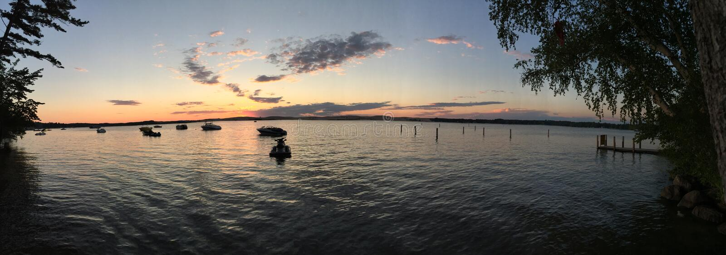Solnedgång på panorama- Silver Lake sanddyn royaltyfri fotografi