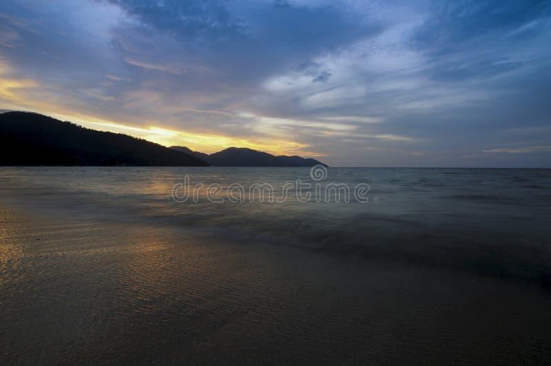Solnedgång på Penang Malaysia royaltyfri bild