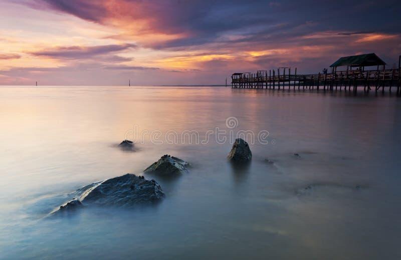 Solnedgång på Pontian Johore Malaysia arkivfoton