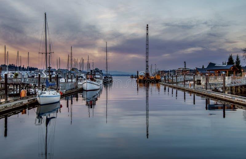 Solnedgång på Puget Sound arkivbild