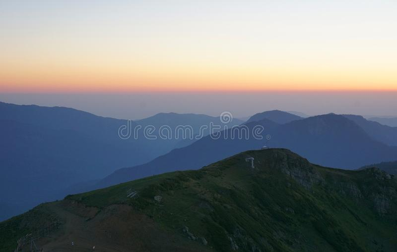 Solnedgång på Rosa Peak royaltyfri fotografi