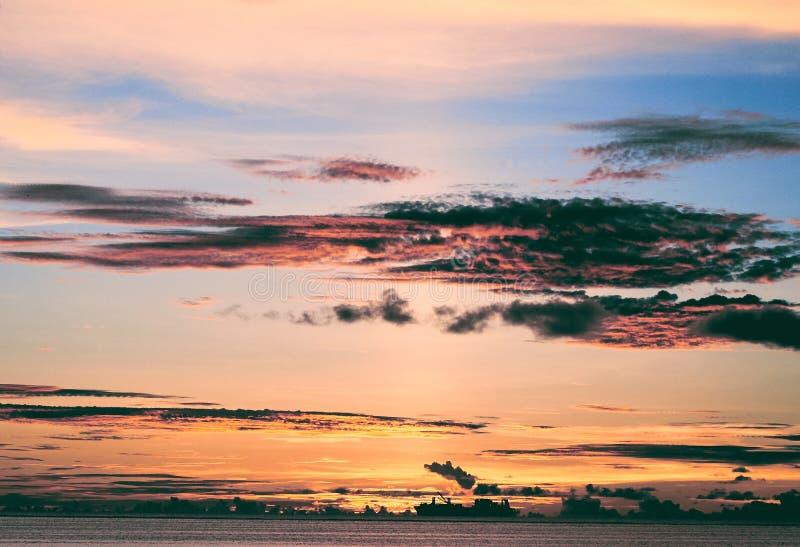 Solnedgång på Saipan arkivbilder