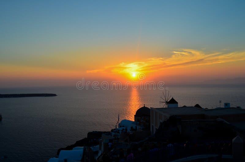 Solnedgång på Santorini arkivfoton