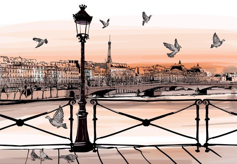 Solnedgång på Seine River från Pont des Arts i Paris vektor illustrationer
