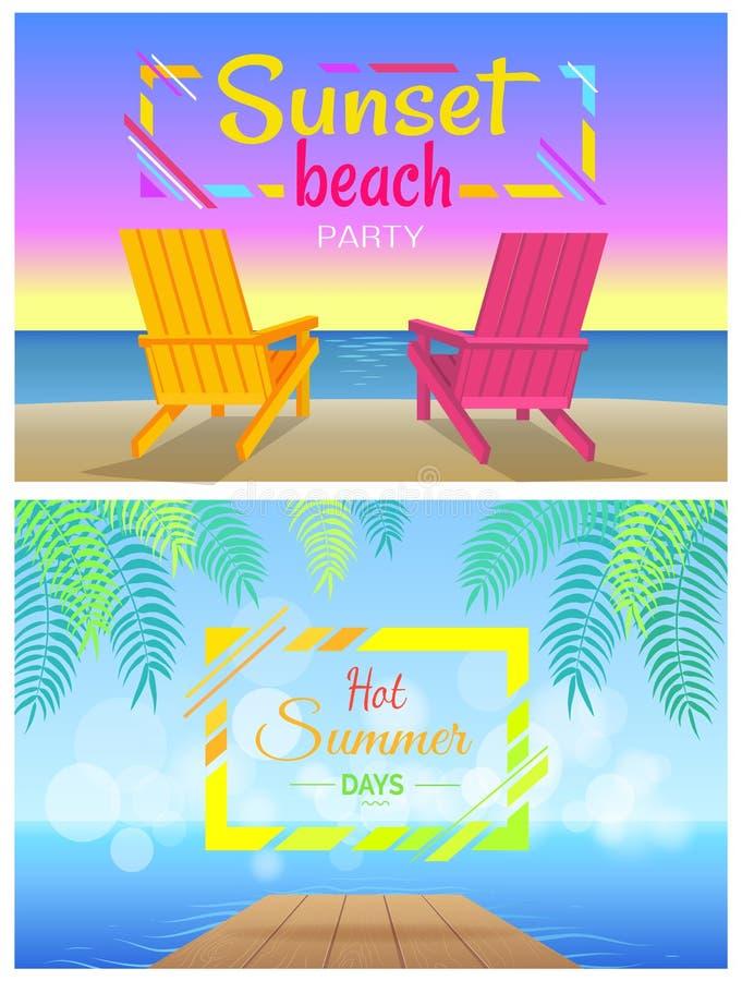 Solnedgång på strandpartiet, varma sommardagar, Chaise två vektor illustrationer
